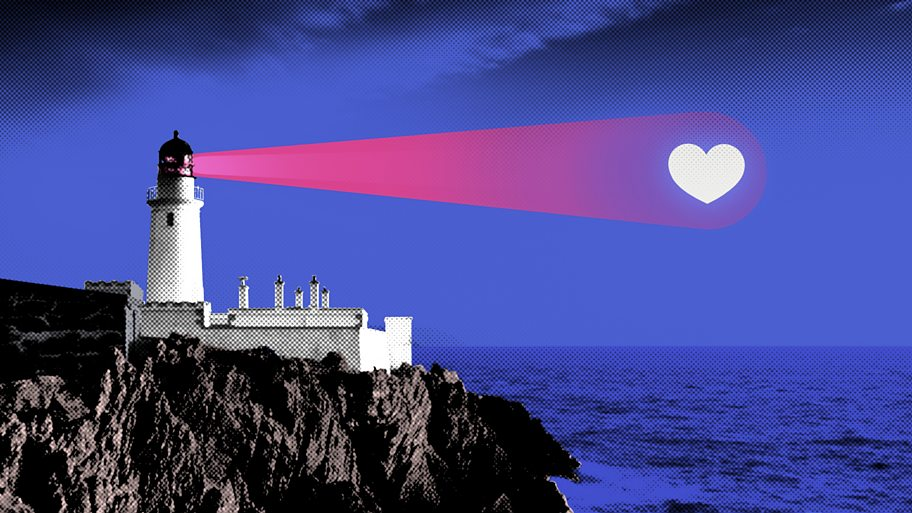 An illustration of a lighthouse shining a heart-shaped light out to sea