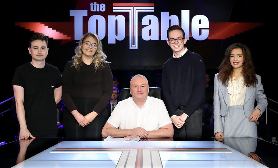 Stephen Nolan with young guests to discus Brexit