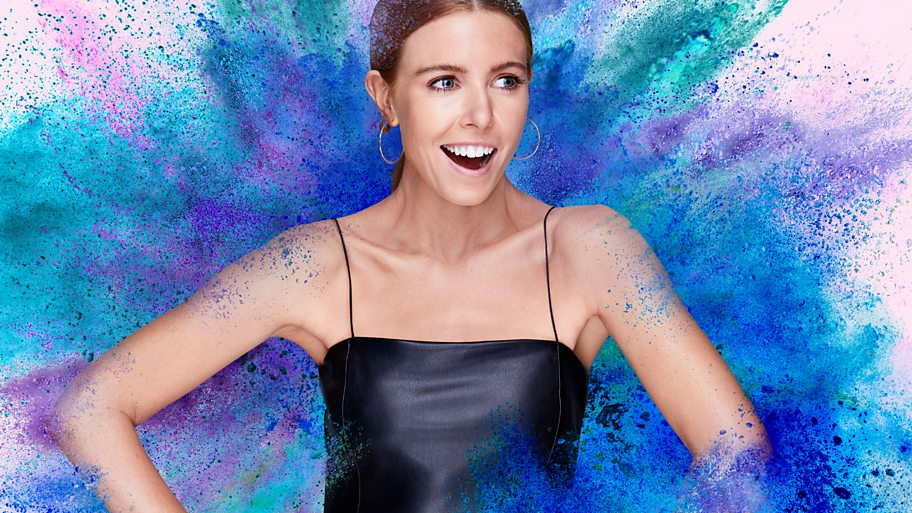 Stacey Dooley on an exploding powdery blue background