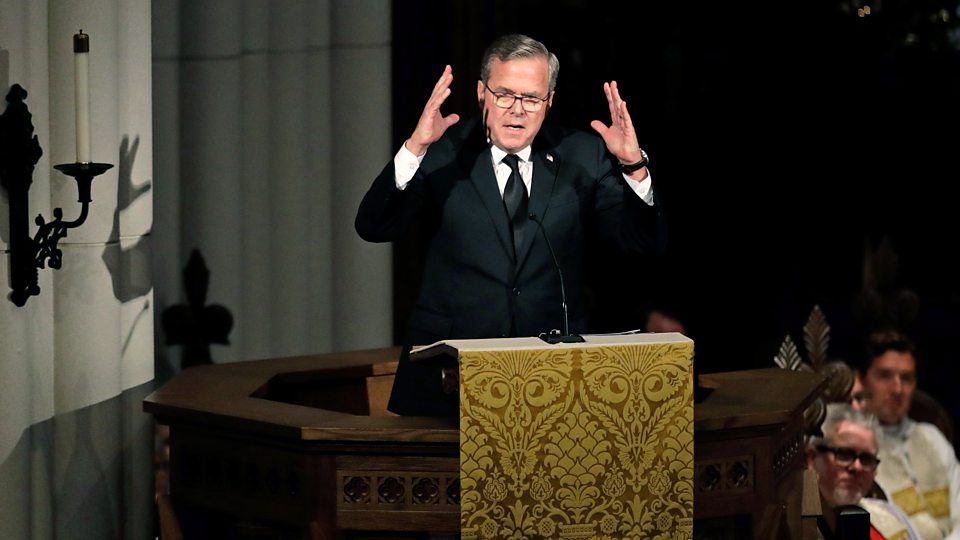 Jeb Bush, delivering the eulogy for his mother Barbara, remembered the love between his parents