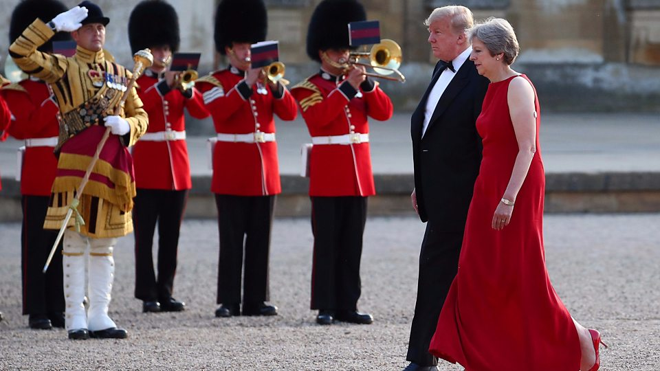 Mays greets Trumps for UK black-tie dinner