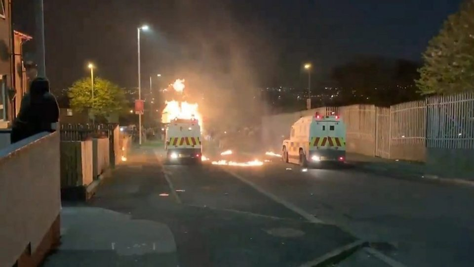 Police attacked with petrol bombs