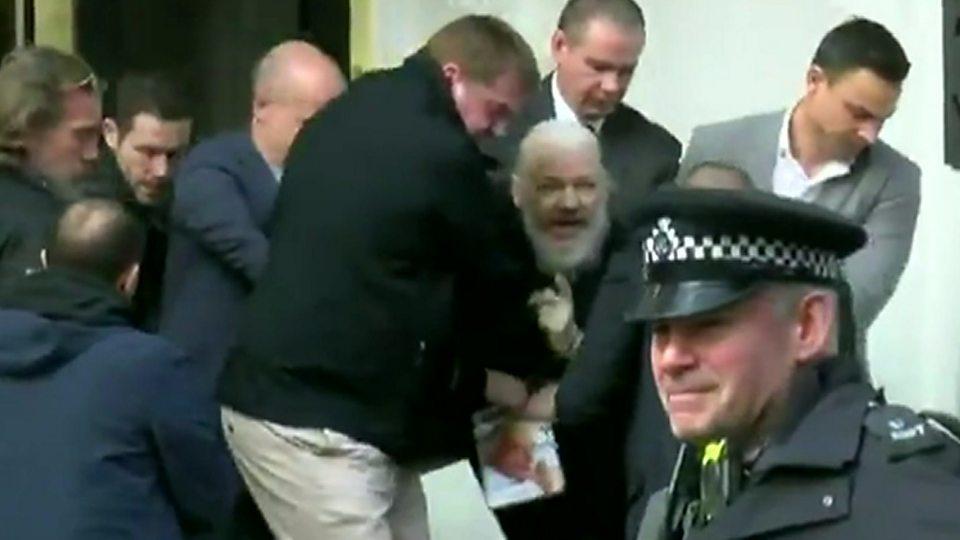 Assange dragged from Ecuadorian embassy
