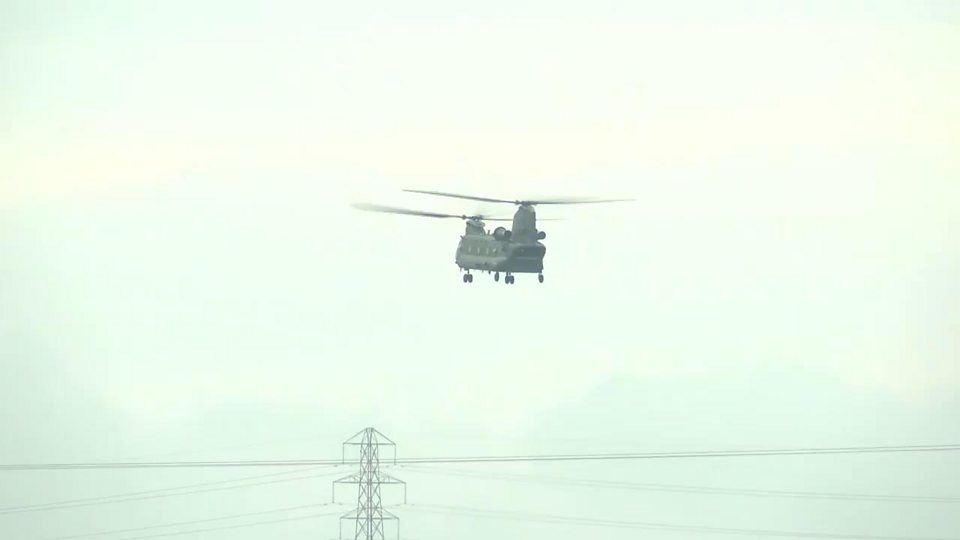 Chinook helicopter arrives in Wainfleet