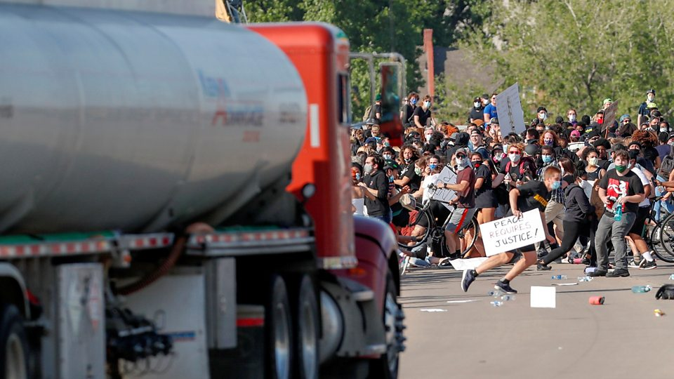 A tanker has been driven at protesters in Minneapolis