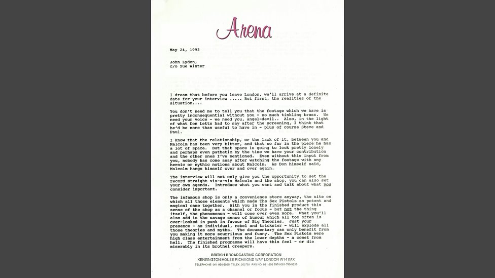 Bbc four paul tickells letter to john lydon page 1 of 3 arena paul tickells letter to john lydon page 1 of 3 freerunsca Images