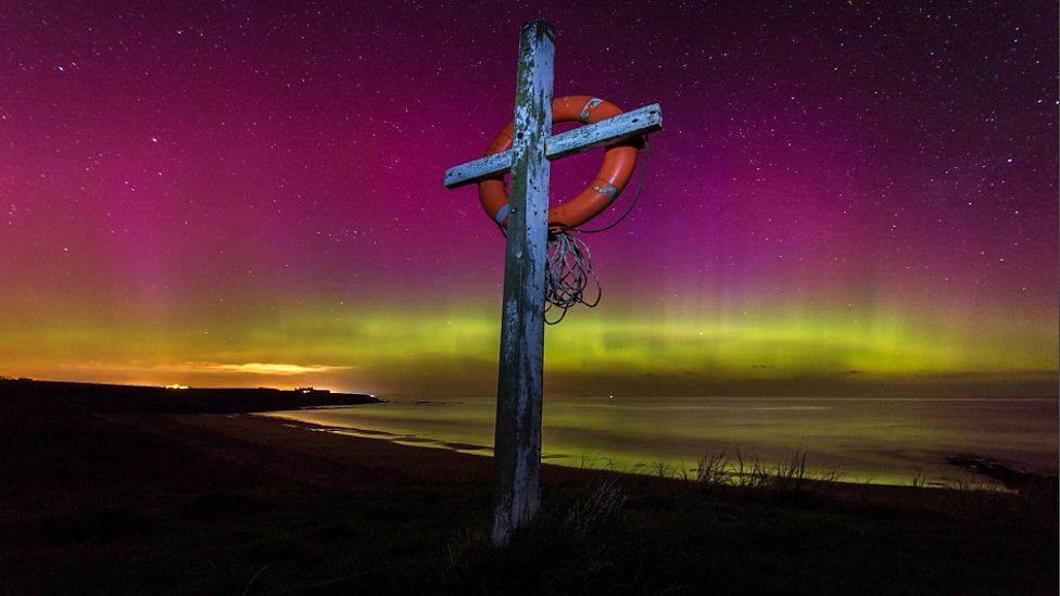 April: Northern Lights At Cocklawburn Beach Near Berwick Upon Tweed