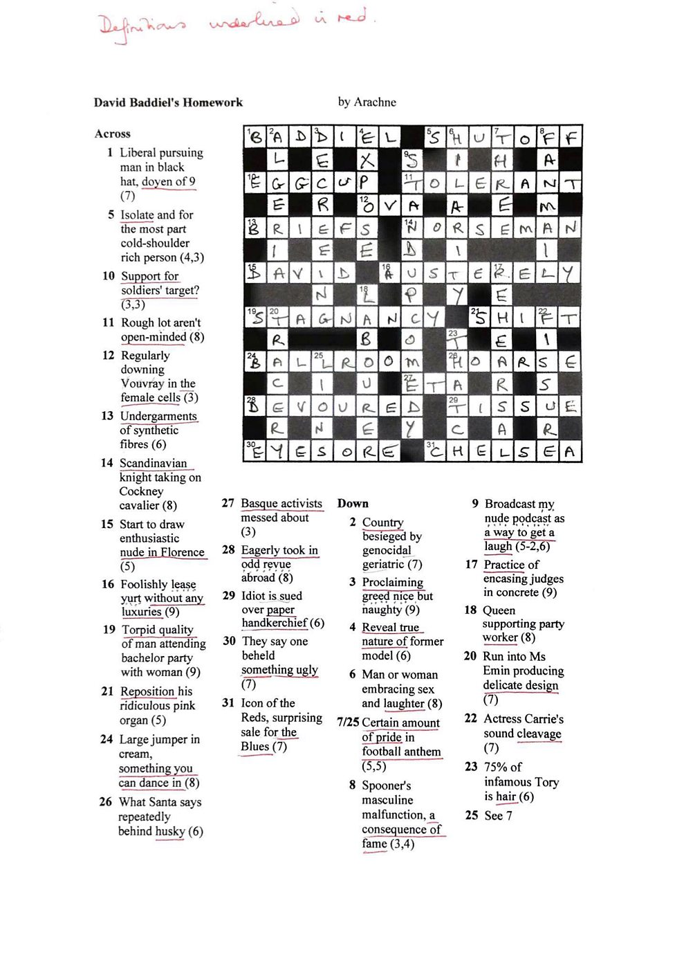 David Baddiels Cryptic Crossword The Answers