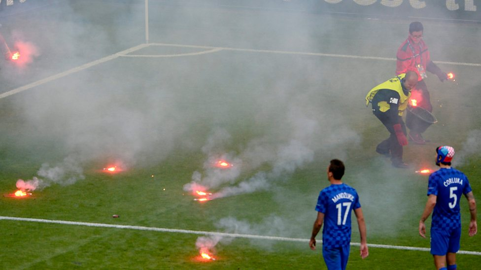 Euro 2016 Flares Thrown On Pitch During Croatia Czech Republic Draw