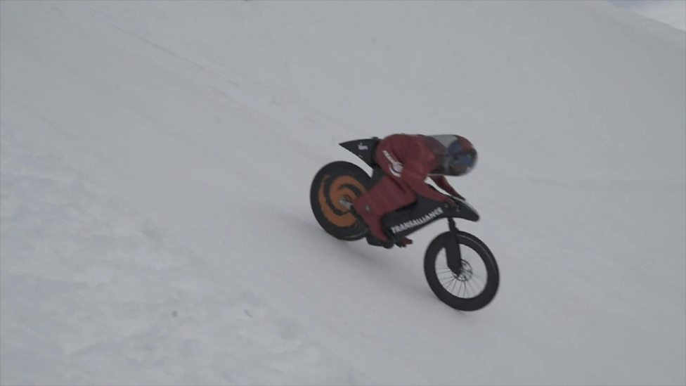 A Man Has Set A New Record Speed Riding A Mountain Bike On Snow