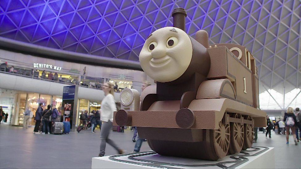 Choo-Choo-Chocolate train arrives at station