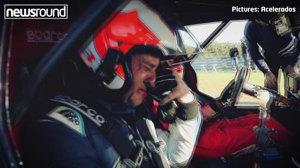 Former F1 driver's tears of joy when his son takes him for a spin!