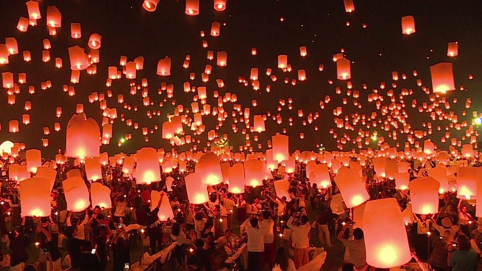 Lantern festival lights up the sky in Thailand - CBBC Newsround