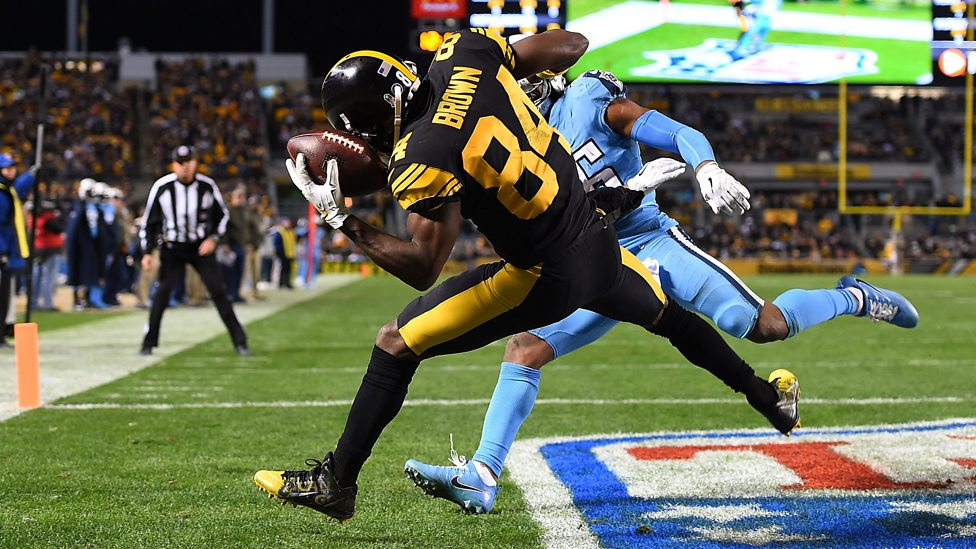 580eafc6aed NFL  Ludicrous  helmet catch  completes Antonio Brown touchdown hat ...
