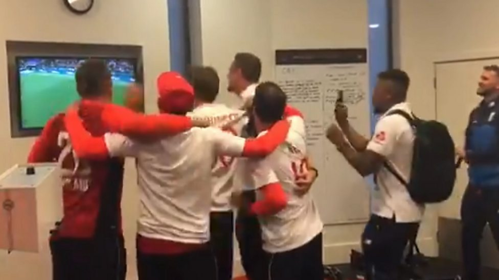 Image result for england cricketers celebrate fifa win