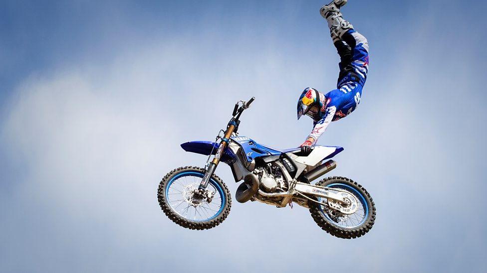motocross stunt rider tom pagès shows off with a drone cbbc newsround