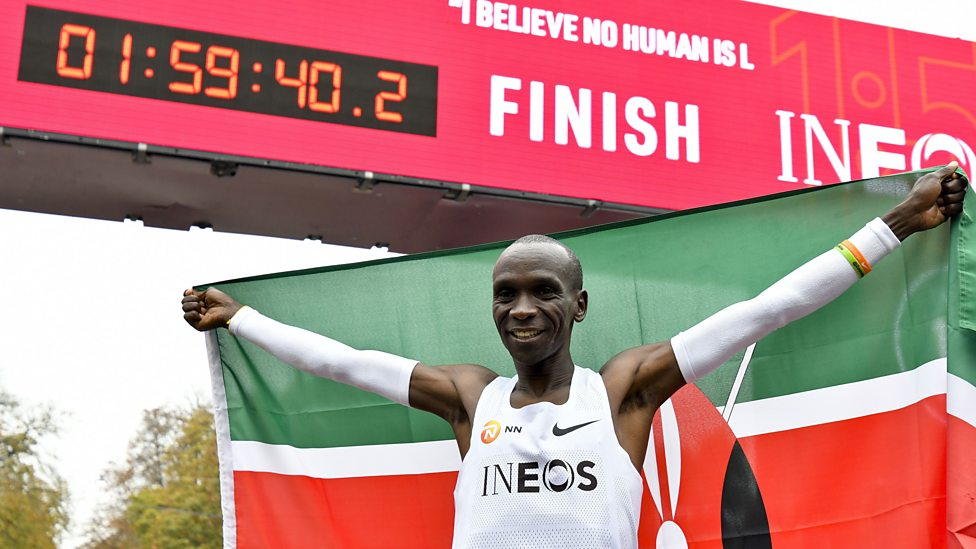 Image result for pic of Eliud Kipchoge breaks two-hour marathon mark