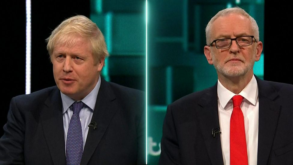 What did Johnson and Corbyn say in the first TV debate?
