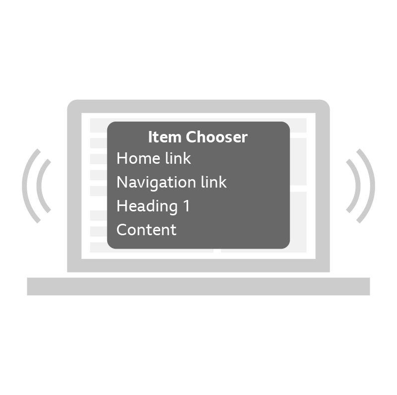 An example of using a screen reader to navigate.