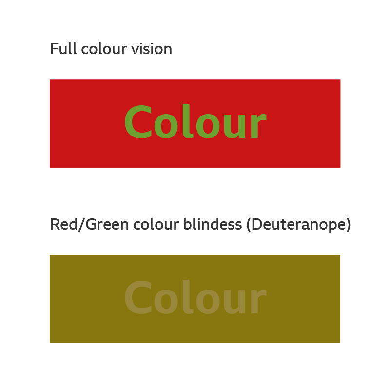 An example showing how colour blindness can be affected by contrast.