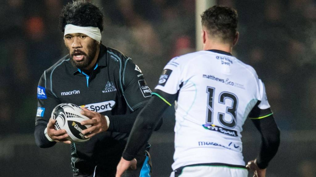 Brian Alainu'uese playing for Glasgow against Ospreys