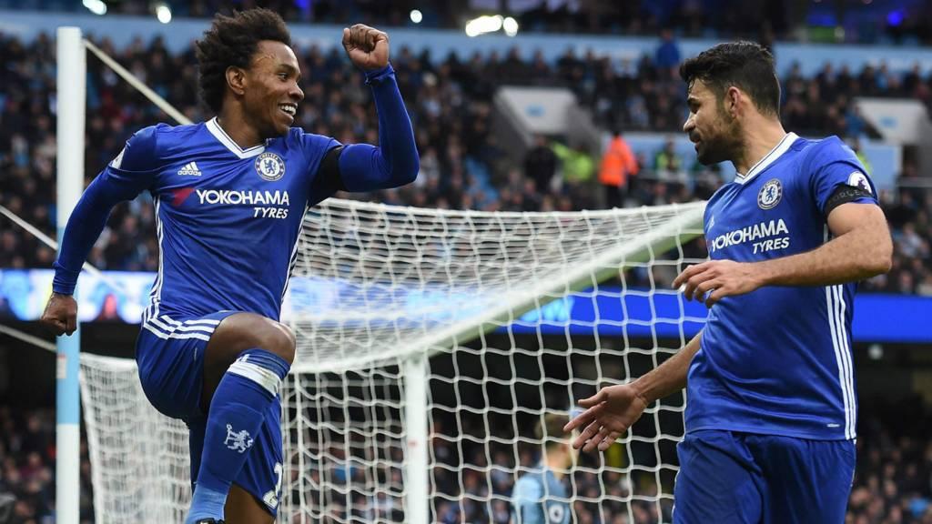 Willian celebrates with Diego Costa