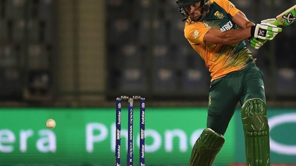 Faf du Plessis plays a shot