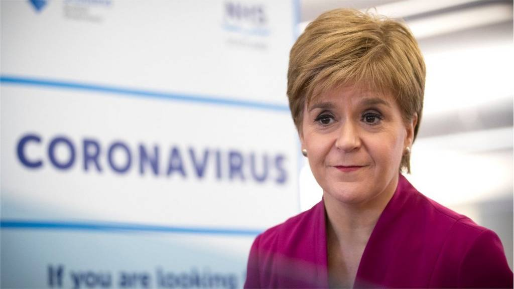 First Minister Nicola Sturgeon speaking during a visit to the NHS 24 contact centre