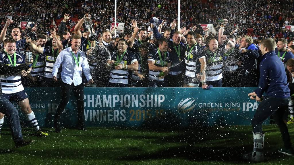 Bristol Rugby players celebrate