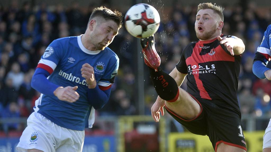 Action from Linfield against Crusaders
