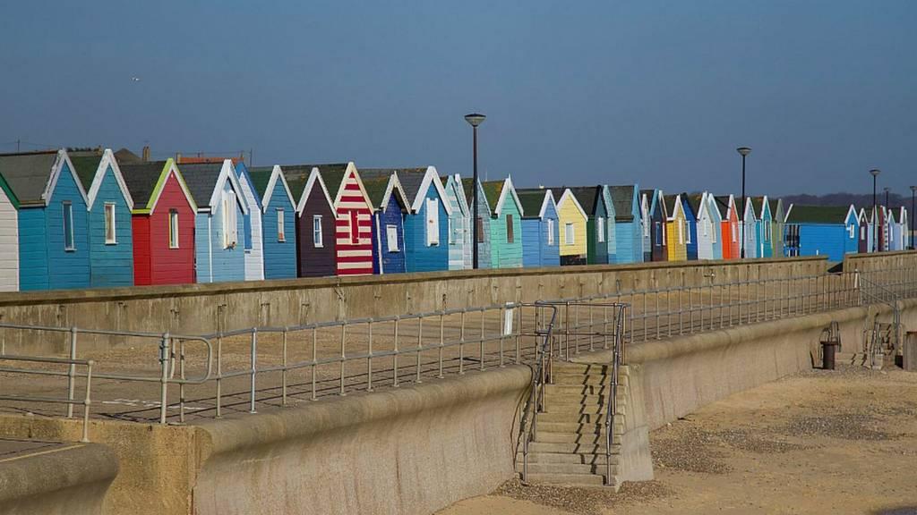 Beach huts in Suffolk