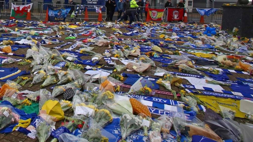 Tributes to Emiliano Sala at the Cardiff City Stadium