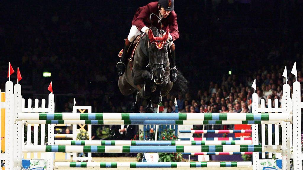 Nick Skelton of Great Britain in action