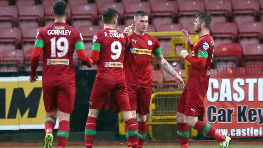 Cliftonville celebrate a goal against Warrenpoint