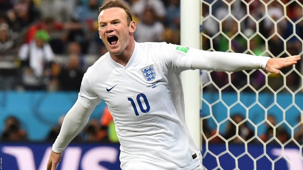 Wayne Rooney celebrates scoring for England
