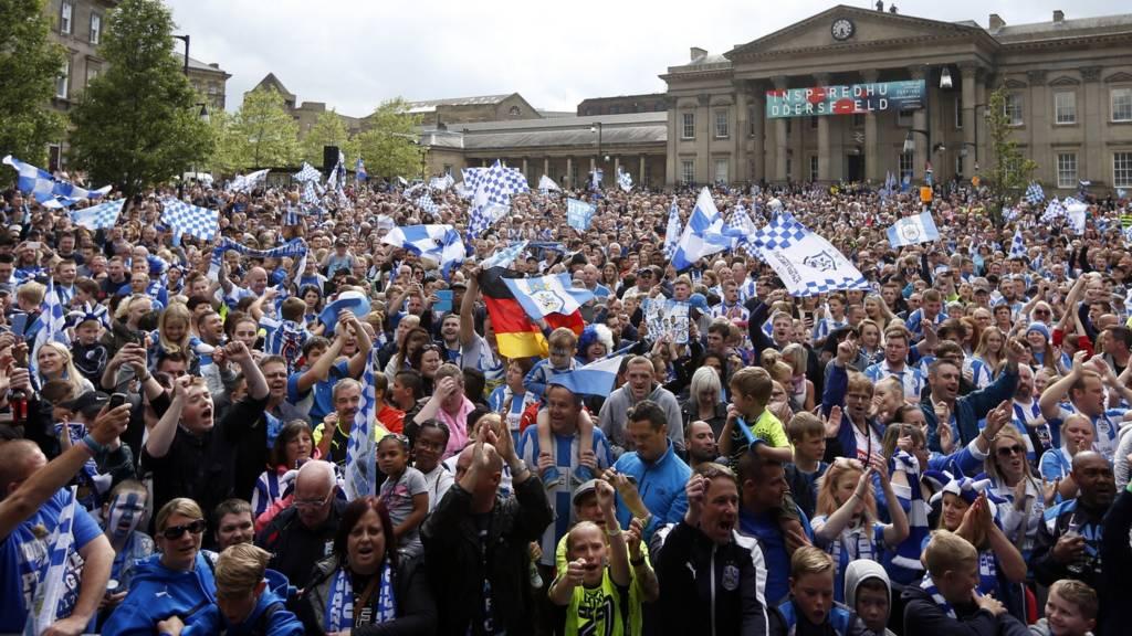 Huddersfield Town fans celebrate