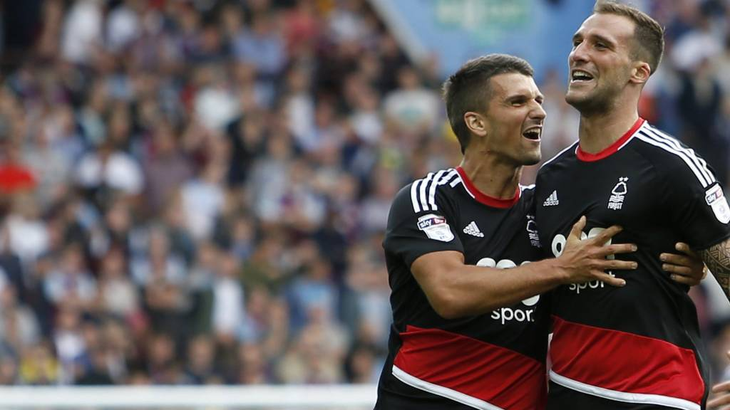 Nottingham Forest's Apostolos Vellios celebrates his goal