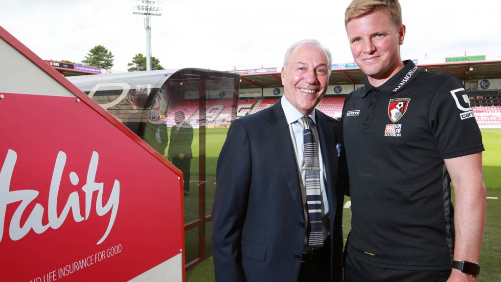Bournemouth chairman Jeff Mostyn and manager Eddie Howe