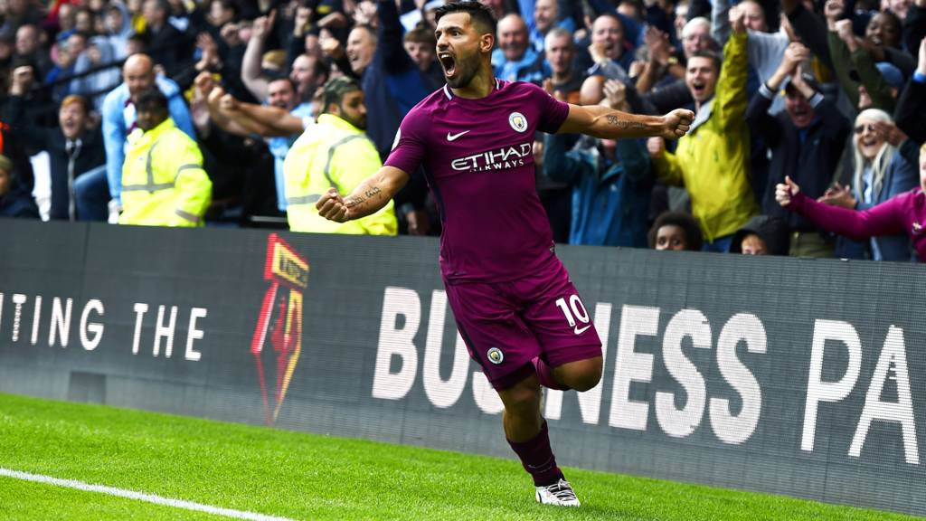Sergio Aguero celebrates his hat-trick