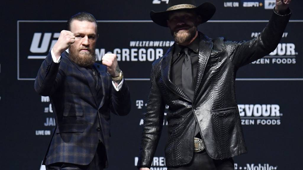 Conor McGregor and Donald Cerrone during the UFC 246 press conference