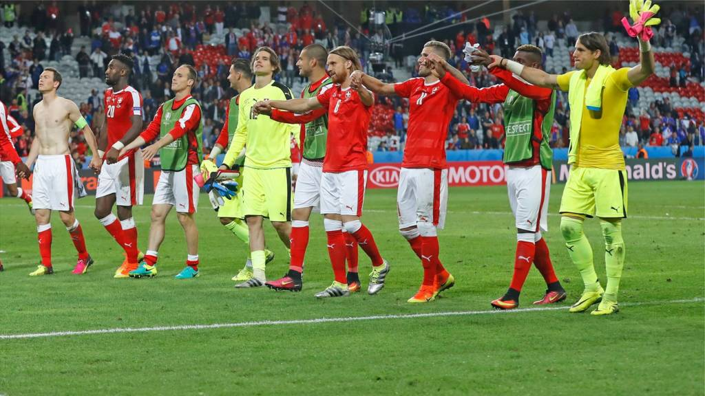 Switzerland players celebrate