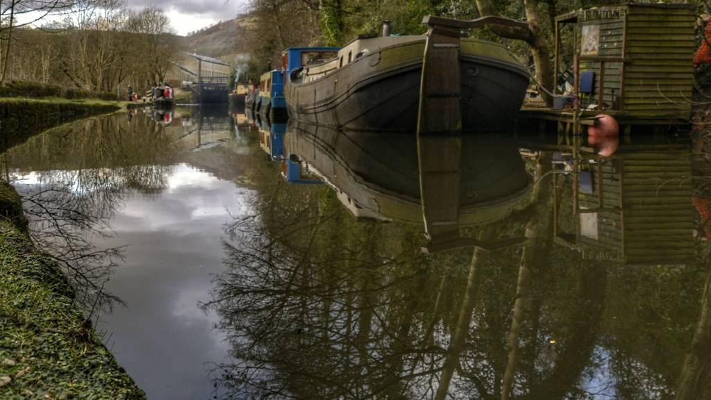 Barge at Hebden Bridge