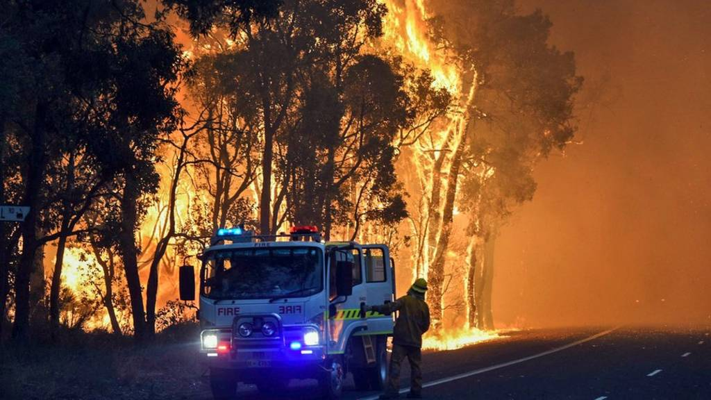 Firefighters battling a fire at Waroona in Western Australia