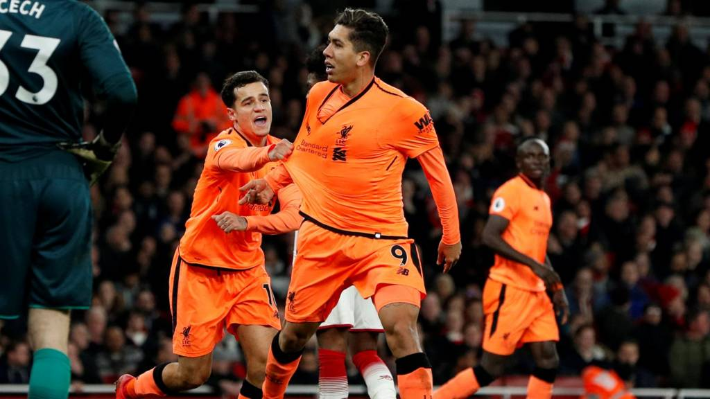 Roberto Firmino equalises for Liverpool