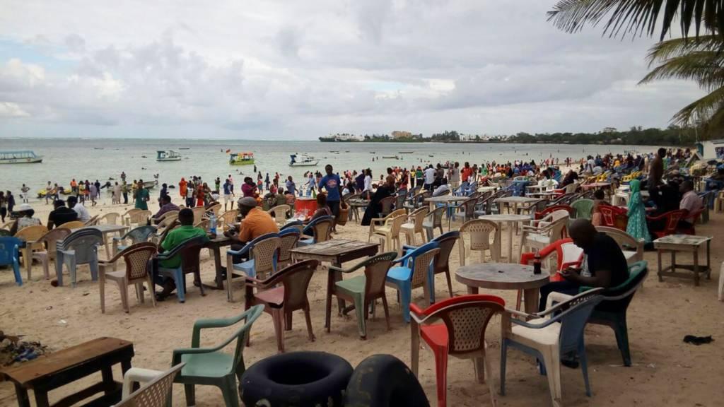 Beach scene in Mombasa, Kenya