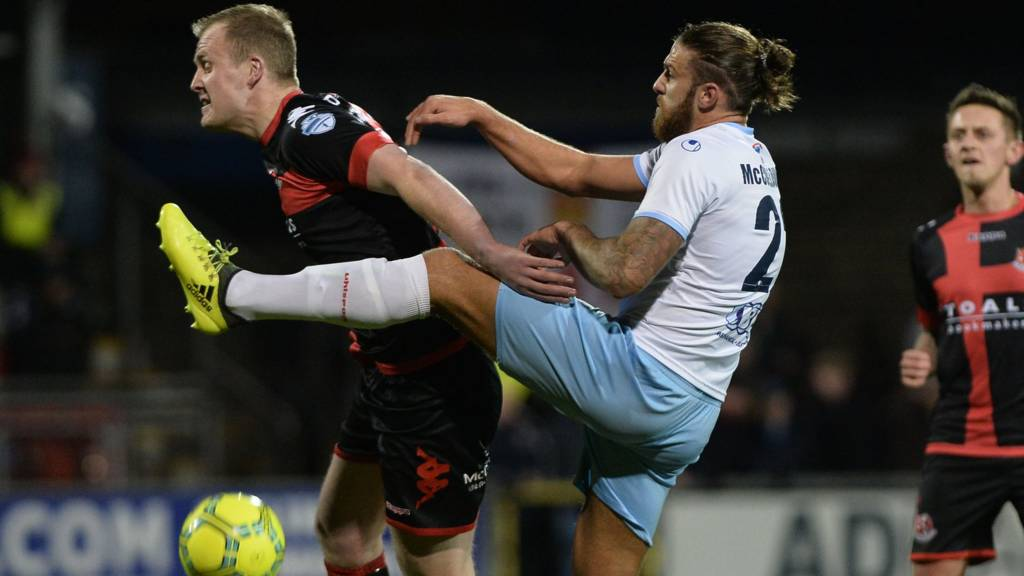 Action from Crusaders against Ballymena at Seaview