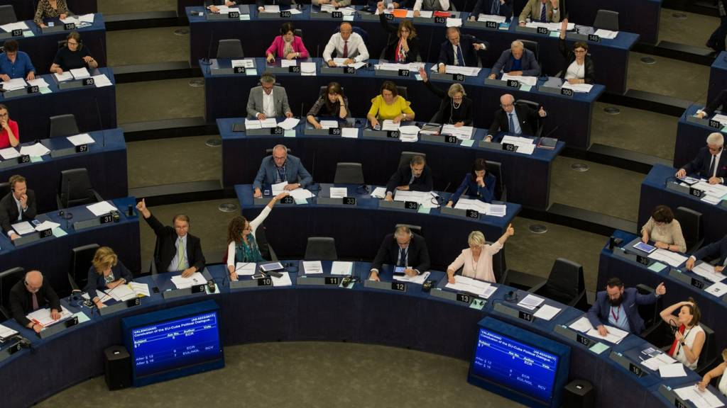 Aerial shot of MEPs voting