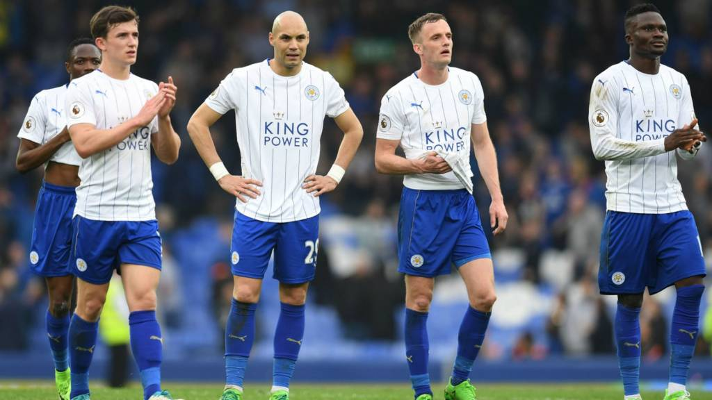 Leicester players at full-time
