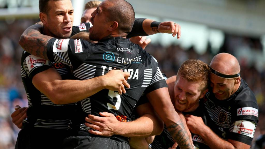Hull FC centre Carlos Tuimavave (3) scores a try and celebrates during the Challenge Cup