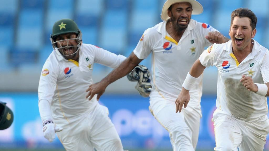 Yasir Shah celebrates